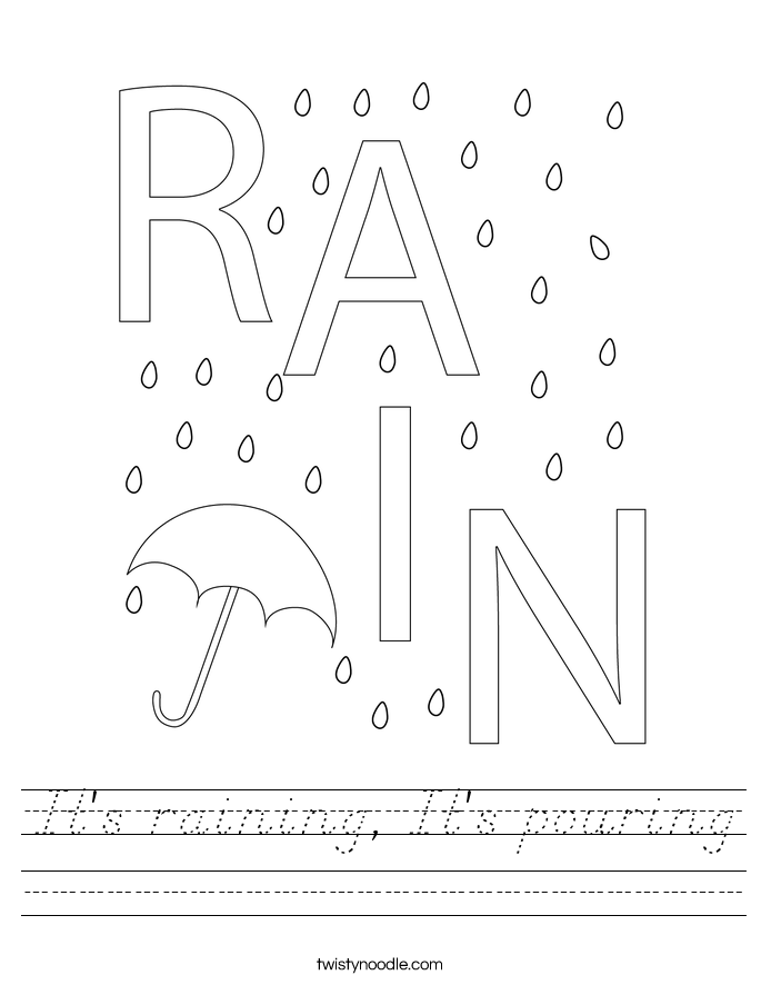 It's raining, It's pouring Worksheet