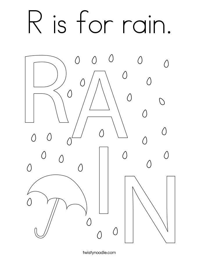 R is for rain Coloring Page Twisty Noodle