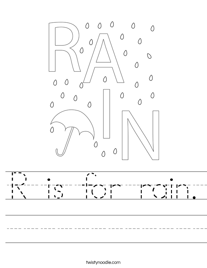R is for rain. Worksheet