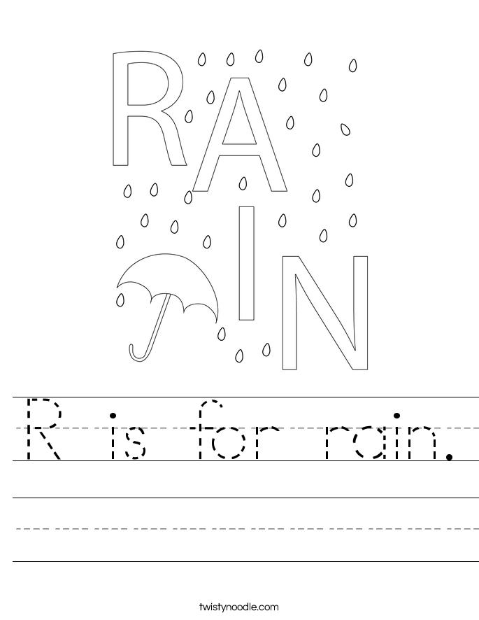 R is for rain. Worksheet