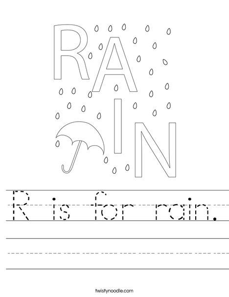 r is for rain worksheet twisty noodle. Black Bedroom Furniture Sets. Home Design Ideas