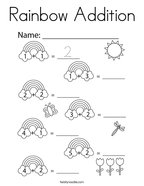 Rainbow Addition Coloring Page