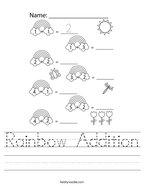 Rainbow Addition Handwriting Sheet