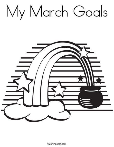 Rainbow and a Pot of Gold Coloring Page
