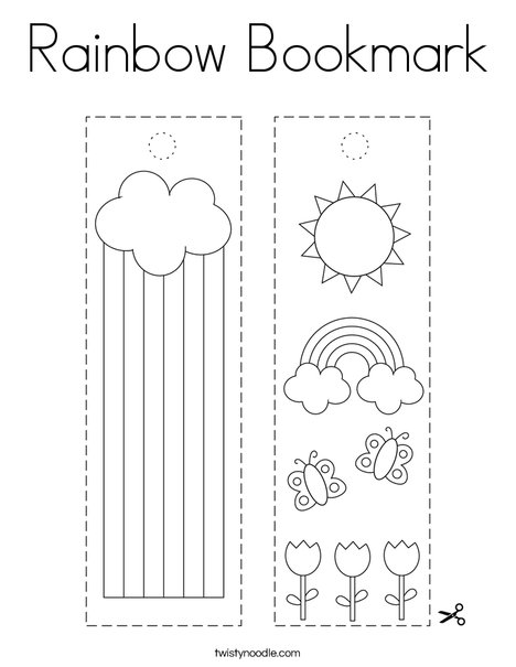 Rainbow Bookmark Coloring Page