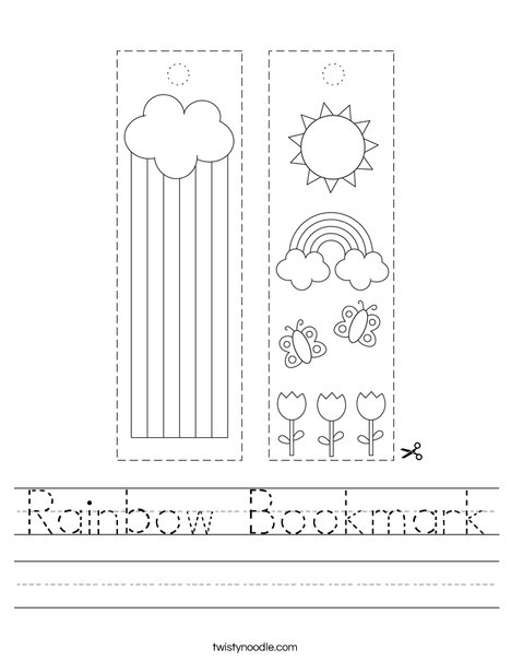 Rainbow Bookmark Worksheet