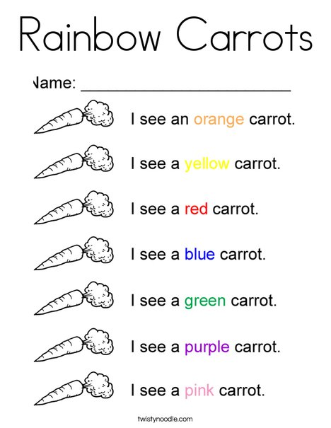Rainbow Carrots Coloring Page