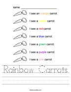 Rainbow Carrots Handwriting Sheet