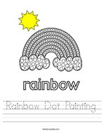 Rainbow Dot Painting Handwriting Sheet