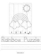 Rainbow Puzzle Handwriting Sheet