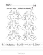 Rainbow Roll-the-Dice Handwriting Sheet