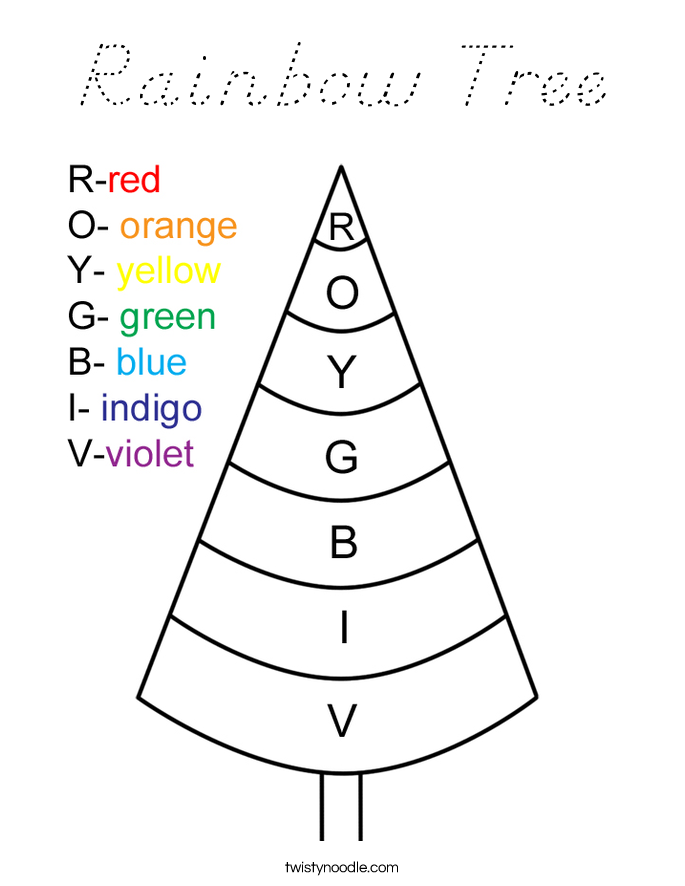 Rainbow Tree Coloring Page
