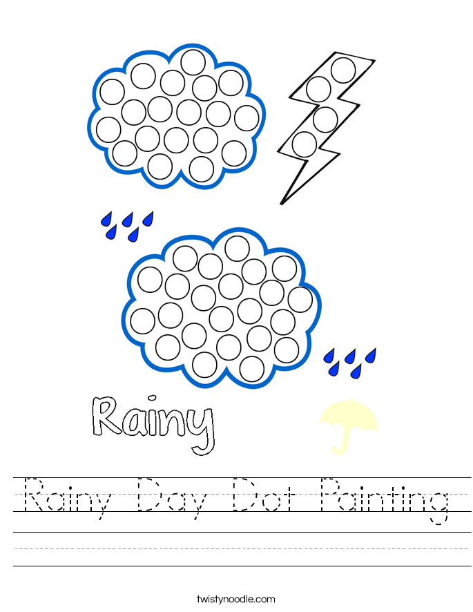 Printable Worksheets rainy day worksheets : Rainy Day Dot Painting Worksheet - Twisty Noodle