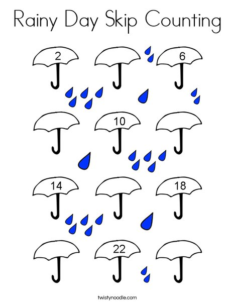 Rainy Day Skip Counting Coloring Page