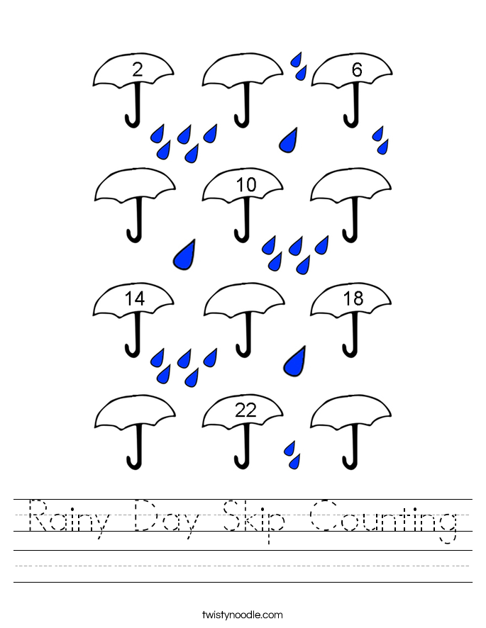 Rainy Day Skip Counting Worksheet