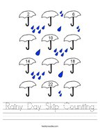 Rainy Day Skip Counting Handwriting Sheet