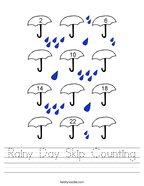Rainy Day Skip Counting Handwriting Sheet
