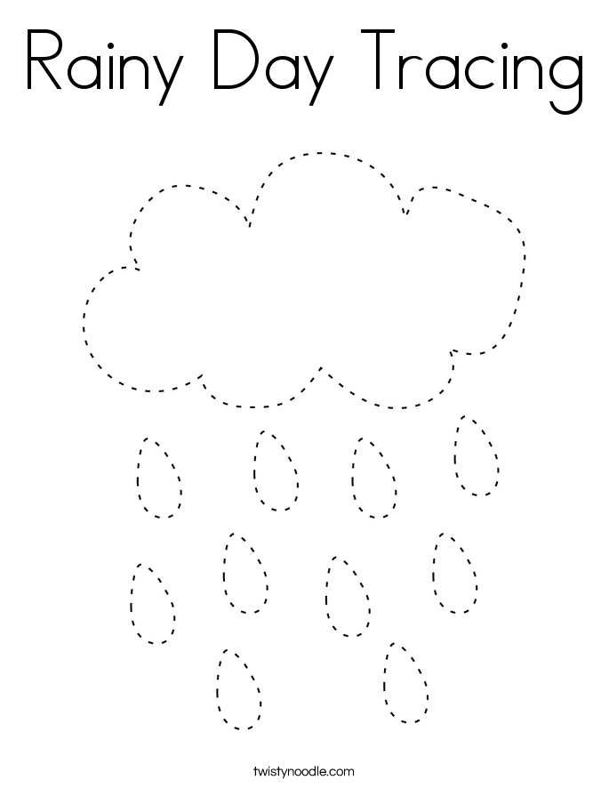 Rainy Day Tracing Coloring Page