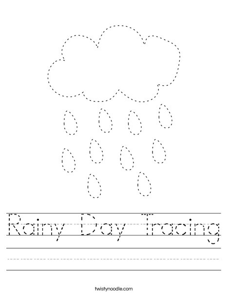 Rainy Day Tracing Worksheet