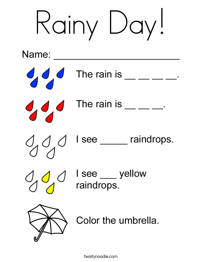 Rainy Day! Coloring Page