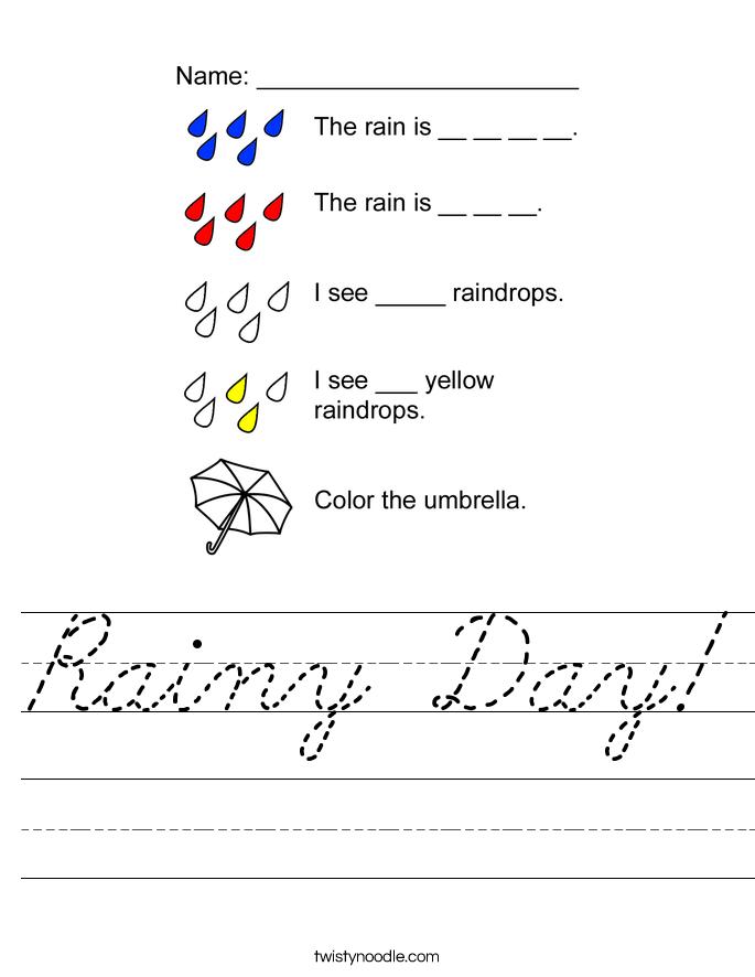 Rainy Day! Worksheet