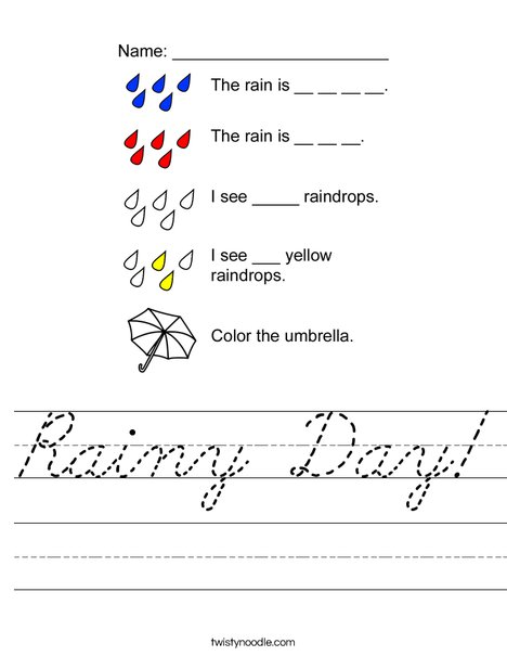 Rainy Day Worksheet