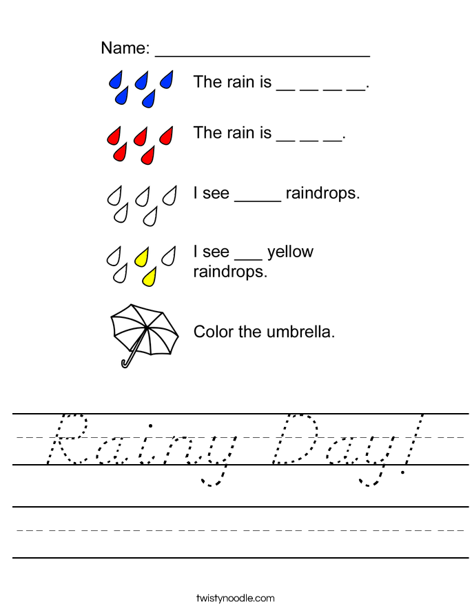 Rainy Day! Worksheet