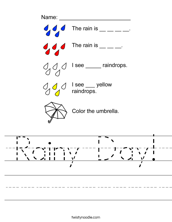 Printable Worksheets rainy day worksheets : Rainy Day Worksheet - Twisty Noodle