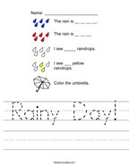 Rainy Day Handwriting Sheet