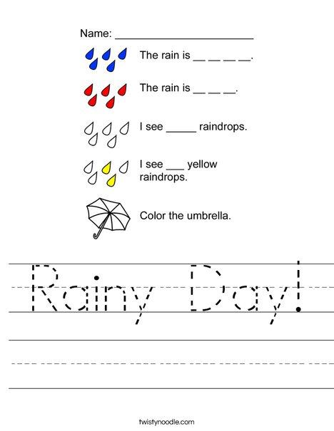 Rainy Day Worksheet Twisty Noodle