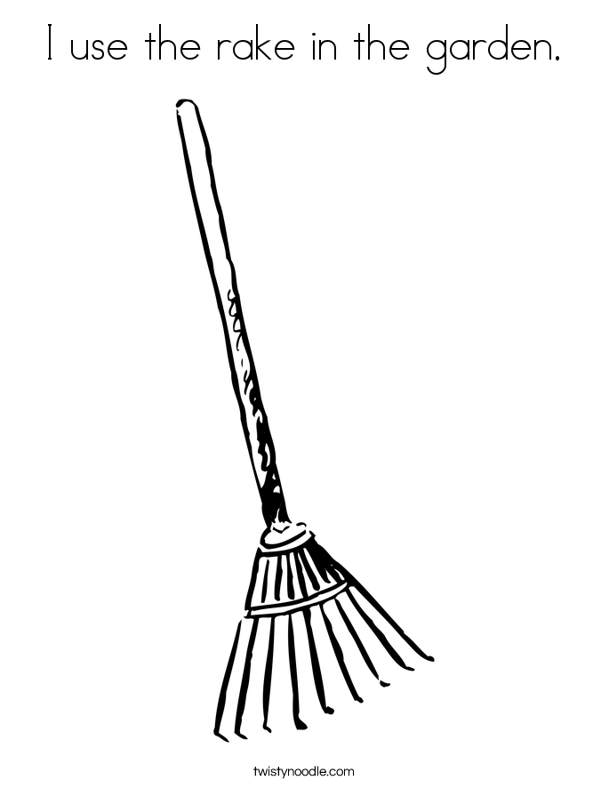 I use the rake in the garden. Coloring Page