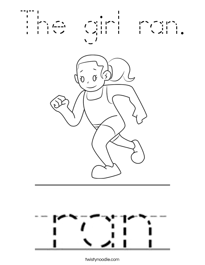 The girl ran. Coloring Page