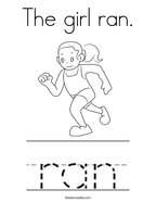 The girl ran Coloring Page