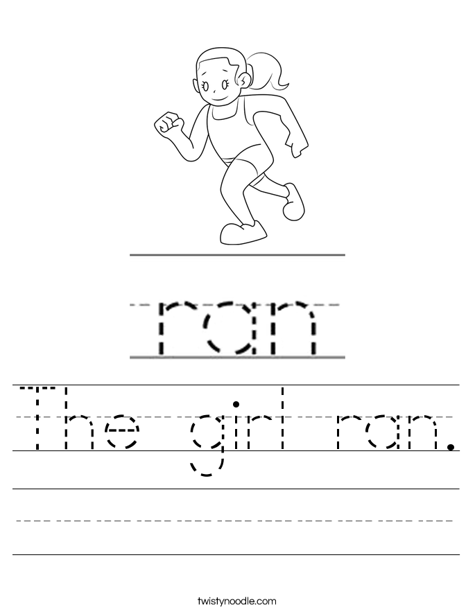 The girl ran. Worksheet