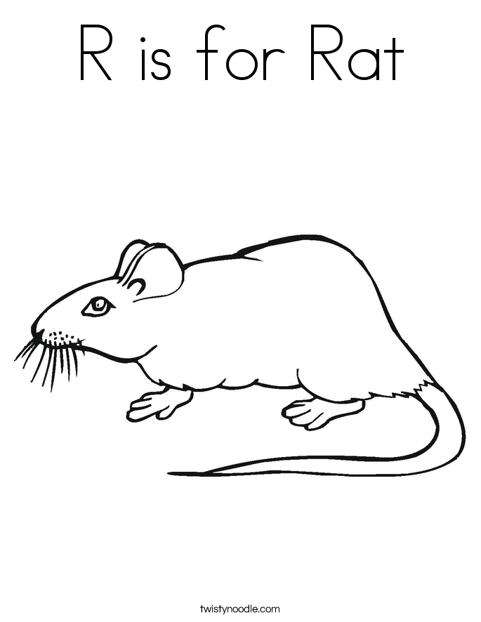 R is for Rat Coloring Page