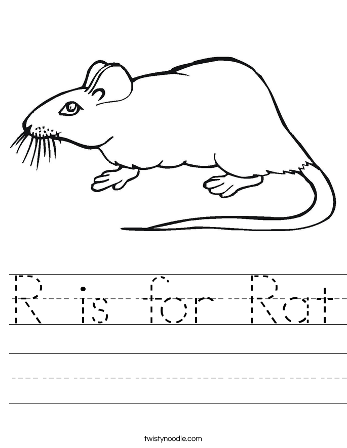 R is for Rat Worksheet