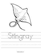 Stingray Handwriting Sheet
