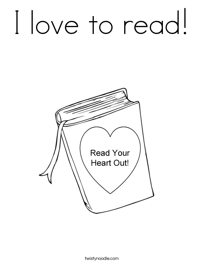 I love to read! Coloring Page