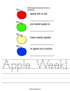 Apple Week Handwriting Sheet