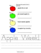 Apple Week Handwriting Sheet