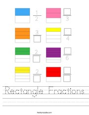 Rectangle Fractions Handwriting Sheet
