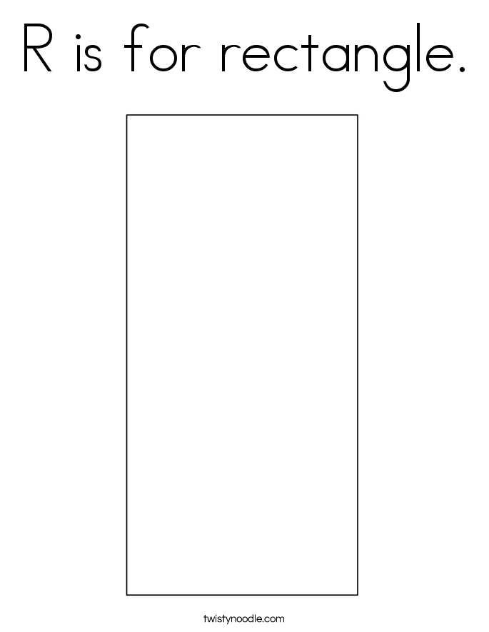 R is for rectangle. Coloring Page