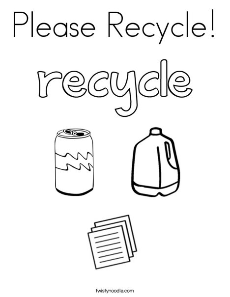 Please Recycle Coloring Page - Twisty Noodle