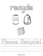 Please Recycle Handwriting Sheet