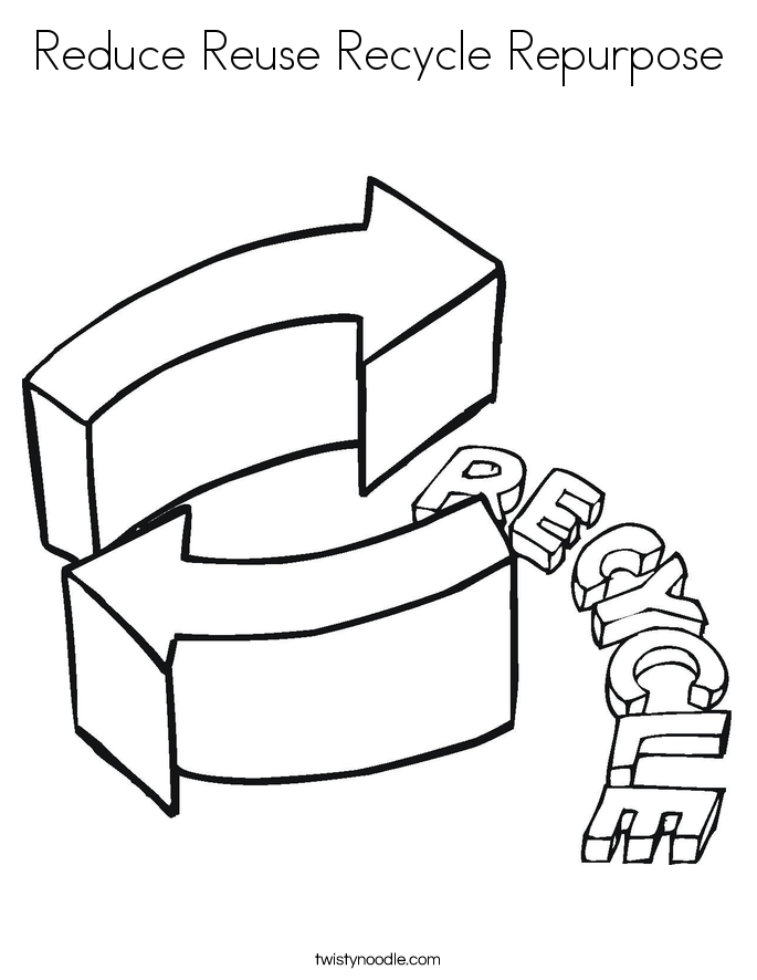Reduce Reuse Recycle Repurpose Coloring Page