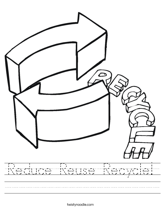 Reduce Reuse Recycle Worksheet - Twisty Noodle