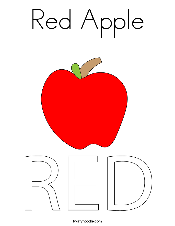 Red apple coloring page twisty noodle for Color pink coloring pages