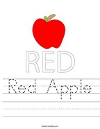 Red Apple Handwriting Sheet