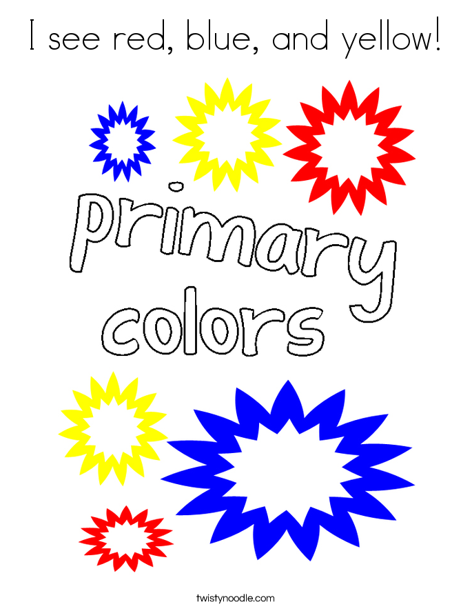 I see red, blue, and yellow! Coloring Page