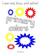 I see red, blue, and yellow Coloring Page